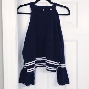 Anthropologie Cut Out Bell Sleeve Navy Sweater